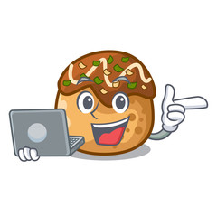 With laptop cartoon cooking takoyaki in baked fire