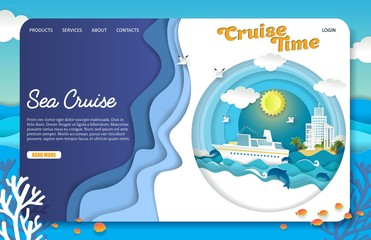 Vector paper cut sea cruise landing page website template