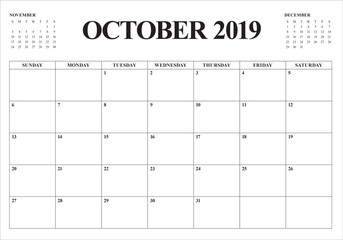 October 2019 monthly calendar vector illustration