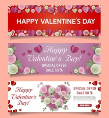 Vector paper cut Happy Valentines Day sale web banners