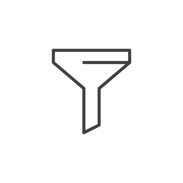 Funnel outline icon. linear style sign for mobile concept and web design. Filter simple line vector icon. Filtration, marketing  symbol, logo illustration. Pixel perfect vector graphics