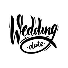 Wedding sing logo. Hand drawn vector lettering.