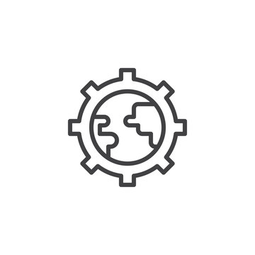 World globe inside gear outline icon. linear style sign for mobile concept and web design. Global settings simple line vector icon. Symbol, logo illustration. Pixel perfect vector graphics