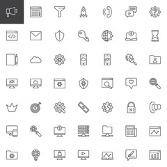 Fototapeta Marketing and SEO outline icons set. linear style symbols collection, line signs pack. vector graphics. Set includes icons as Blogging, Funnel, Startup, Phone call, Coding, Mail, Search engine, Server