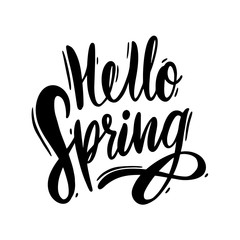Hello Spring hand drawn vector lettering. Black ink isolated on white background.