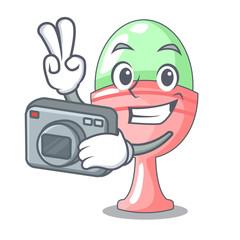 Photographer boiled organic chicken egg in cartoon