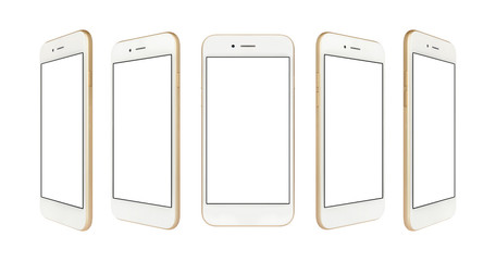 Perspective concept of white and gold empty screen smartphone isolated on white background