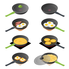Flat isometric illustration of frying pan with scrambled eggs on the toasts, pancakes, omelette, french potato. The empty cooking pans with glass lid. Vector concept isolated on white background.