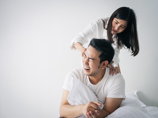 Asian family fight. Furious wife hurt husband after unfaithful