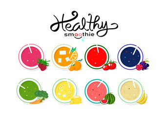 Healthy smoothie collection balance diet menu, banner template food and drinking product, vegetable and fruit juicy concept on white space background vector illustration
