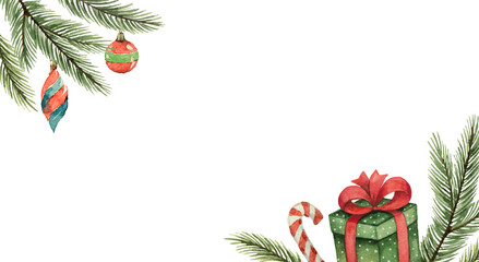Watercolor vector Christmas banner with fir branches, gifts, balls.
