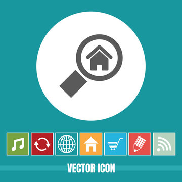 Very Useful Vector Icon Of Property Search with Bonus Icons. Very Useful For Mobile App, Software & Web.