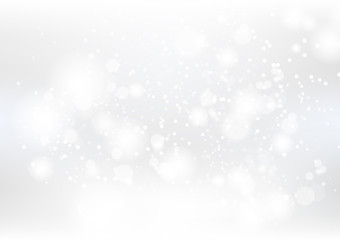 Abstract background, silver and white dust particles scatter and stars scatter sparkle blurry vector illustration, winter season