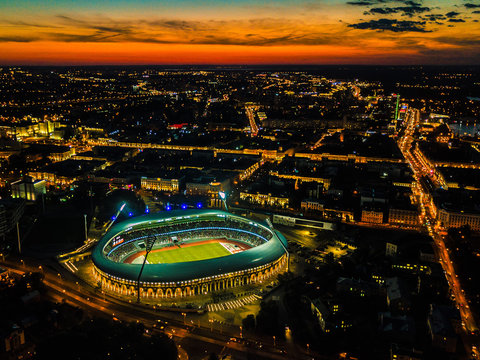 Night Aerial View of Minsk City