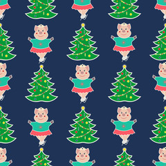 seamless pattern with the symbol of the New Year 2019. Pig is engaged in a winter sport - skater and Christmas tree. On a dark background. Vector illustration.