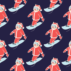 seamless pattern with the symbol of the New Year 2019. Pig is engaged in a winter sport. Snowboarder in Santa costume. On a dark background. Vector illustration.