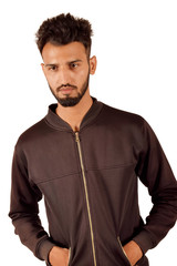 Handsome boy In black jacket In front of camera, Pune, Maharashtra.
