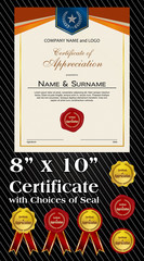 8x10 size of Certificate of Appreciation with laurel wreath and wax seal portrait version