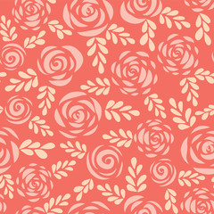 Seamless vector pattern abstract Scandinavian style flat roses and leaves red pink coral background. Floral silhouettes. Flower pattern for Valentines, greeting card, poster, banner, stencil, wedding.