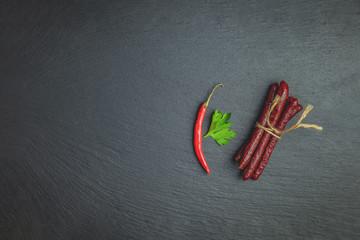 Kabanosy, sausages traditional polish
