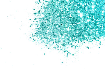 Textured background with blue glitter sparkle on white