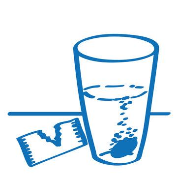 Handgezeichnete Kopfschmerztablette in dunkelblau