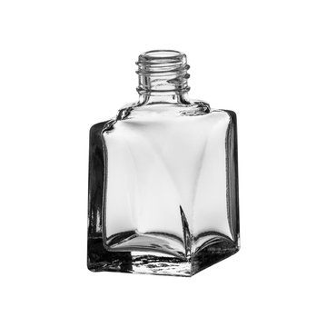 glass bottle for perfumery, side view, on a white background