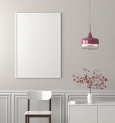 Mock up poster frame in Scandinavian style hipster interior. 3D illustration