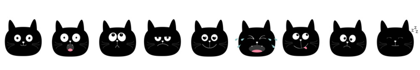 Cute cat icon set. Cute cartoon kawaii characters. Emotion collection. Round face head. White background. Isolated. Flat design.