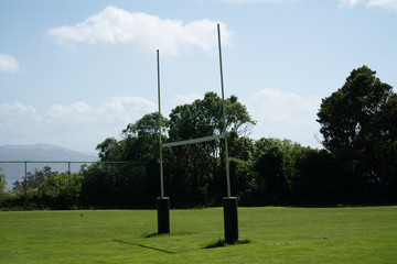 Rugby goal posts in a park