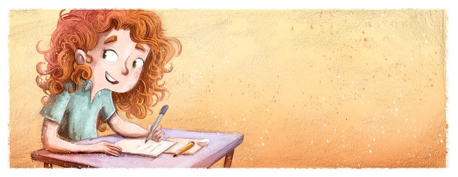 niña escribiendo en el colegio