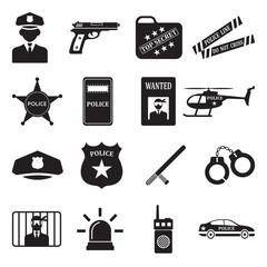 Police Icons. Black Flat Design. Vector Illustration.