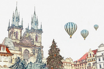 Illustration or watercolor sketch of the Old Town Square in Prague. Hot air balloons are flying in the sky. Decorated Christmas tree stands on the main square during the Christmas holidays