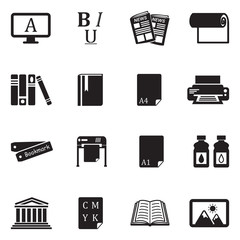 Publishing Icons. Black Flat Design. Vector Illustration.