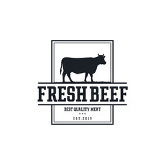 Vintage Cattle. Steak House / Beef logo design inspiration. Grill Restaurant emblem - Vector