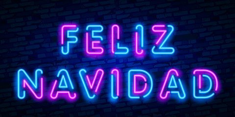 Neon Felices Fiestas, handwritten phrase, translated from Spanish Happy Holidays. Vector Neon light Christmas, New Year illustration on dark background.