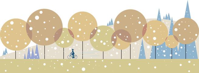 初雪の降る日に森を走る