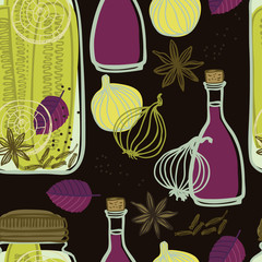 The jars with spicy cucumbers and onions Vegetables set Seamless pattern Dark background