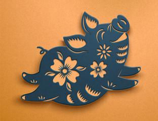 Cute blue paper art piggy