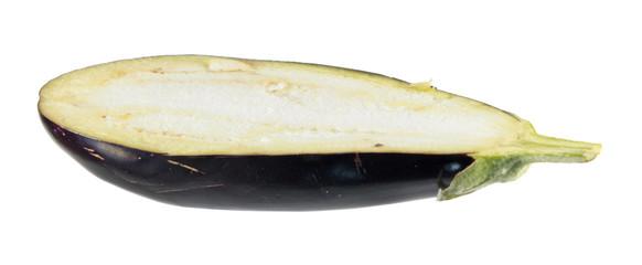 Eggplant longitudinal section isolated on white background