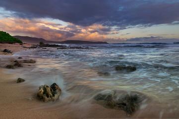 Ocean in sunrise. Clouds and ocean landscape. Ocean nature in sunrise. Nature landscape. Sunrise in nature landscape. Travel lifestyle landscape. Ocean. Landscape. Nature. Travel. Lifestyle.