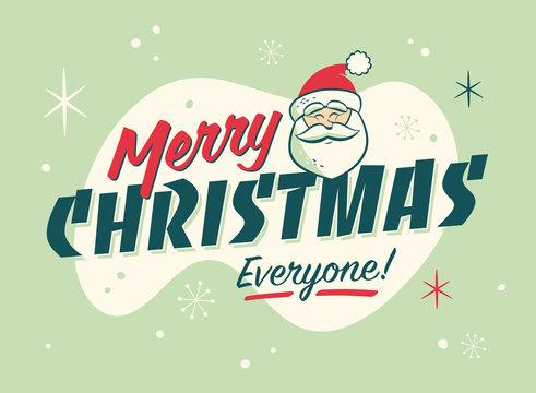Vintage Style Christmas Postcard. Merry Christmas Everyone! - Editable EPS10.