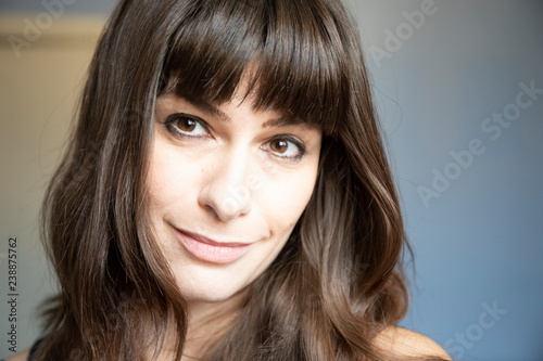 Young Woman Close Up Portrait Caucasian With Brown Long