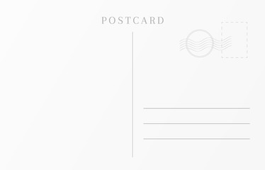 Vintage travel card template. Blank postcard design.