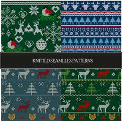 Set of seamless knitted patterns. Christmas theme.