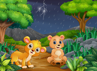 Cartoon a bear and baby lion in a forest under the rain