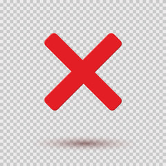 Cross red icon isolated on transparent background. Symbol No or X button for correct, wrong and failed decision. Vector flat sign or mark element .