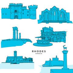 Rhodes Greece landmarks drawings filled