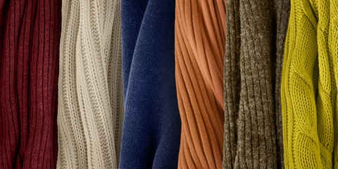 Colors palette for fall and winter 2018. Knitted fabric samples.