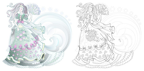 Fantasy drawing of beautiful girl in elegant dress. Colorful and black and white page for coloring book. Poster for fashion show. Worksheet for children and adults. Vector cartoon image.